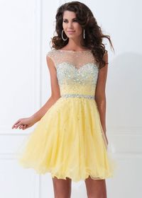 Chic Beading Sheer Short Yellow Party Dress With Open Back