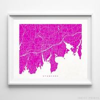 Stamford, Connecticut Street Map Horizontal Print by Inkist Prints - Available at https://www.inkistprints.com