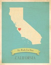 This site has beautiful map posters with any state or country you can think of. Each is included with heart stickers so you can personalize your map!