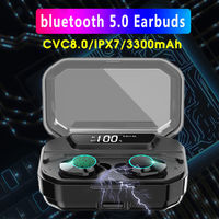 Mini TWS bluetooth 5.0 Wireless Earbuds CVC8.0 Noise Canceling Touch Control IPX7 Waterproof Earphone with Charging Box 3300mAh Power Bank