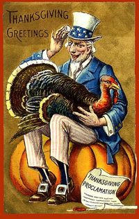 Uncle Sam Pardons the Gobbler----Vintage Thanksgiving Postcard