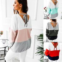 Autumn Winter 2018 Casual Women's T-shirts O-Neck Long Sleeve Patchwork Back Hollow Out Shirt Loose Cotton Women Clothing Tops $9.78