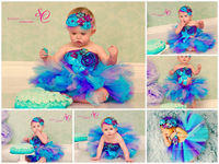 Under the Sea 3 Pc Headband, barefoot sandals, bracelet gift set, baby girl purple turquoise glass pearl beads elastic First Birthday Outfit $18.00