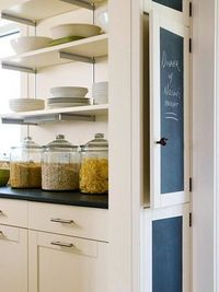 30 Low-Cost Cabinet Makeovers: Save Money by Painting Your Old, Ugly Kitchen Cabinets. Chalkboard paint on cabinets is an awesome idea!