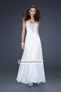 Strapless Angelic White Sweetheart Popular Long Prom Dresses Sale