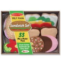 Open your own sandwich shop with this 33 piece smorgasbord of fabulous felt food pieces! Use white or wheat bread, or a pita pocket, then layer on the meats, cheeses, vegetables, condiments and more.