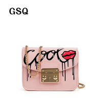 GSQ High Quality Leather Women Messenger Bag Famous Brand Luxury Leather Bags Hot Fashion Sequined Hasp Style Sexy Lip Women Bag $119.80