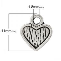 Pack of 50 Silver Tone 10mm Heart Charms. Cabochon Setting Pendants £6.99