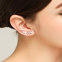 Bling AAA Zirconia Factory Promotion Climber 925 Sterling Silver Long Ear Cuff Stud Earrings For Women Ladies Jewelry Gift $8.22