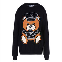 Moschino Dressed Teddy Bear Womens Long Sleeves Sweater Black