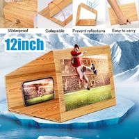 """12"""" Wood Foldable 3D Phone Screen Magnifier Movie Video Phone Amplifier for Smart Phone for iPhone for Samsung Xiaomi"""