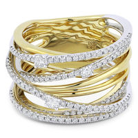 0.81ct Round Cut Diamond Pave Overlap Loop Right-Hand Statement Ring in 14k Yellow & White Gold