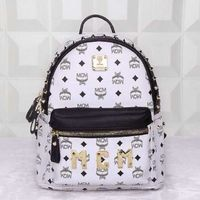 MCM Small Stark Logo Studded Backpack In White