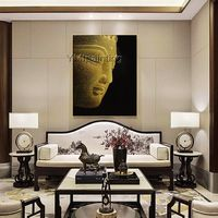 Original Portrait canvas painting golden acrylic painting caudros knife scrape painting Wall art Pictures for living room Home Decor $228.00