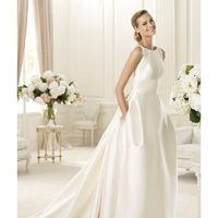 Simple Ball Gown Straps Pockets Sweep/Brush Train Satin Wedding Dresses - Dressesular.com