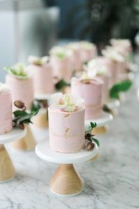 pink small cute mini miniature pale pink cake cakes stand marble event wedding pastry party