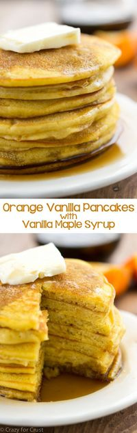 Orange Vanilla Pancakes with vanilla maple syrup - this is such an easy pancake recipe! They're bursting with orange and vanilla flavor and they syrup is the best syrup recipe!