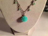 Teal Necklace - Flower Pendant - Silver Jewelry - Chain Jewellery - Beaded