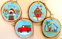 Wood Slice Christmas Ornaments Acrylic Painting Tutorial on YouTube by Angela Anderson #angelafineart #CHRISTMAS #moose #truck #nativity #gingerbreadhouse