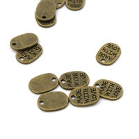 Pack of 90 Mini Metal Made With Love Tags. Bronze Colour Pendants. 10mm x 7mm Charms £5.99