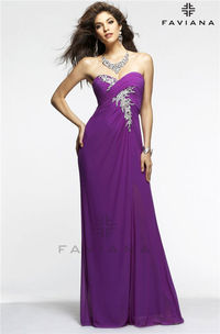 Strapless Beaded Ruched Faviana 7316 Long Evening Gown