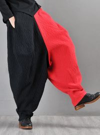 Harem pants, Jacquard linen black red patchwork harem pants, Pants women, Boho style, Tribal costumes, Linen trousers