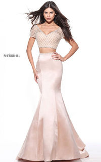Nude 51196 Two Piece Satin Senior Prom Dress by Sherri Hill