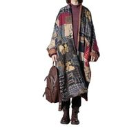 Abstract printed big cape coat, winter cotton coat, retro padded coat