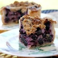 A sweet, custardy sour cream mixture is spooned over fresh blueberries, topped with a sweet buttery crumble, and baked. If desired, garnish with mint sprigs and additional blueberries.