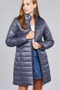 Long sleeve quilted long padding jacket $48.02