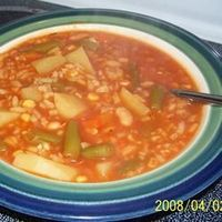 No-Carb Meal: Vegetable Soup In a large stock pot, combine broth, tomato juice, water, potatoes, carrots, celery, undrained chopped tomatoes, green beans, and corn. Season with salt, pepper and Creole seasoning. Bring to a boil and simmer for 30 minutes o...
