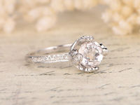 7MM ROUND CUT MORGANITE AND DIAMOND ENGAGEMENT RING 14K WHITE GOLD CROWN HEAD