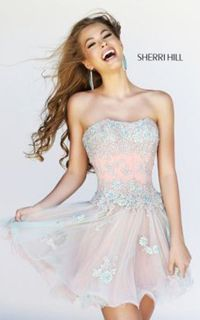 Sherri Hill 11062 Nude Peach Frilly Floral Cocktail Dress