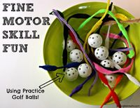 Here's a fun Fine Motor Activity - using practice golf balls! So easy, cheap and FUN!!