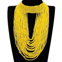 Fashion Jewelry Full Yellow Resion Collar Charm Cluster Pendant Statement Necklace New
