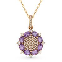 1.53ct Oval Cut Amethyst & Diamond Pave Pendant & Chain Necklace in 14k Rose Gold - AM-DN3898