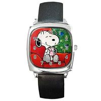 Christmas, Snoopy in Chair with Cocoa, on a Womens Silver Square Watch with Leather Band $32.00