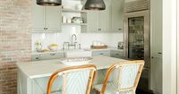 mint green would be a fun alternative to a white or cream colored kitchen!