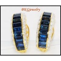 18K Yellow Gold Eternity Diamond Blue Sapphire Earrings [E0004]