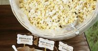 """Popcorn bar: great """"make your own"""" party snack, perfect for slumber parties, movie night, etc."""