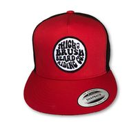 THIGHBRUSH® BEARD RIDING COMPANY - Trucker Snapback Hat - Red and Black - Flat Bill