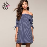 Hollow Out Bateau Off-the-Shoulder Lace Up Horizontal Stripped Summer Dress - Bonny YZOZO Boutique Store