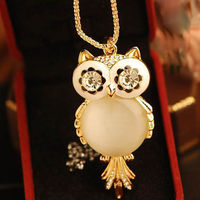 FASHION RHINESTONE OWL PENDANT CHAIN SWEATER JUMPER NECKLACE JEWELRY