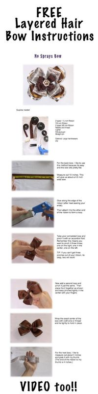 http://www.howtomakehairbowseasy.com - Free Hair Bow Instructions to learn how to make a layered hair bow. Boutique bow instructions how to (photos AND video). Bow Dazzling Volunteers, we use crochet thread a lot to tie ( no wire for the girls...
