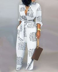 Letter Print White Casual Knotted High Waist Jumpsuit at www.fashionsqueen.com