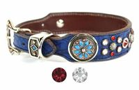 Blue Leather Dog Collar with Swarovski Crystal bling | Western Dog Collar for Small to Large Dog Breeds | Hermann Oak Leather $165.00