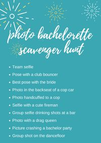 Bachelorette scavenger hunt is one of the hottest new trends for bachelorette parties. As it is both affordable and easy to plan, it's a fun activity for a girls night out.https://www.weddingforward.com/bachelorette-scavenger-hunt/