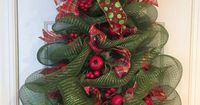 This glittering Christmas tree wreath has been carefully sculpted out of deco mesh, adorned with pomegranate, pear, or apple picks with pine cones and complementary ribbons. Tree can sit on floor resting against a wall or fireplace screen, so it can be us...