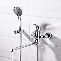 Contemporary Chrome Wall Mounted Brass Valve Shower Faucet.jpg