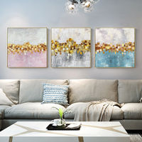 Set of 3 wall art Abstract floral paintings on canvas 3 pieces Framed Wall Art Gold art Ymipainting Original wall Picture Cuadros abstractos $163.53